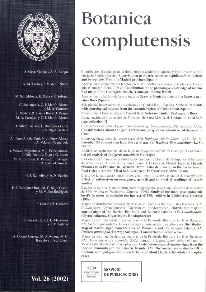 Botanica Complutensis Vol. 26 (2002)