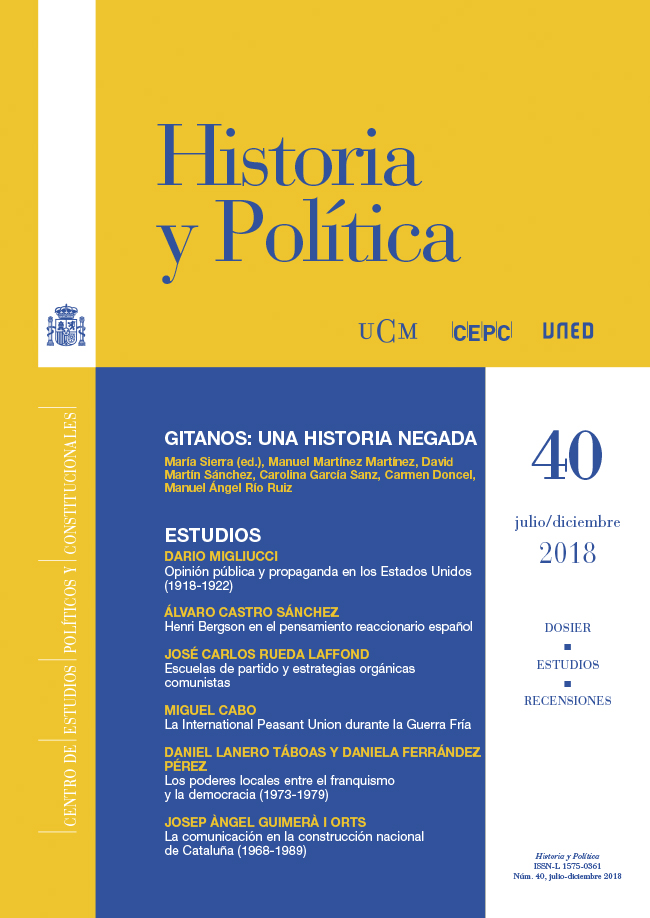 Cubierta de Historia y Política Núm. 40 (2018)
