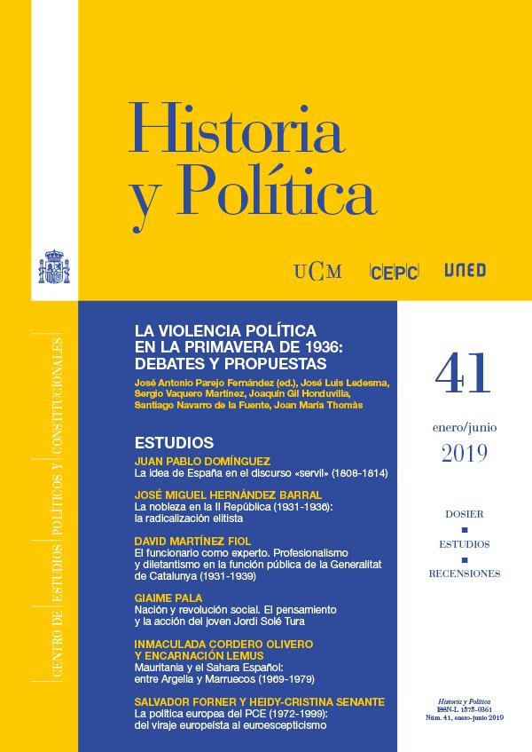 Cubierta de Historia y Política Ideas, Procesos y Movimientos Sociales Núm. 41 (enero/junio) 2019