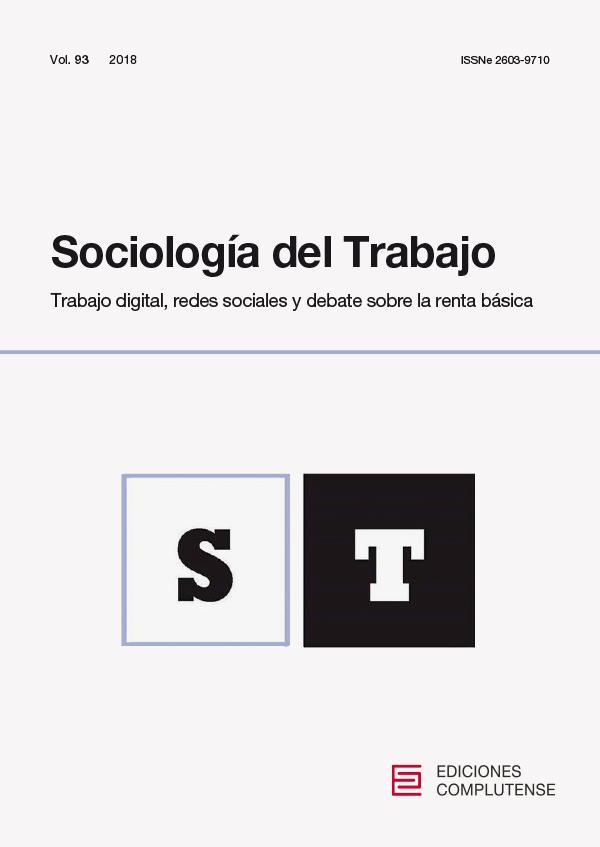 Cubierta de Sociología del Trabajo Vol .93 Trabajo digital, redes sociales y debate sobre la renta básica