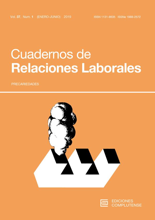 Cubierta de Cuadernos de Relaciones Laborales Vol. 37, Núm. 1 (2019) Precariedades