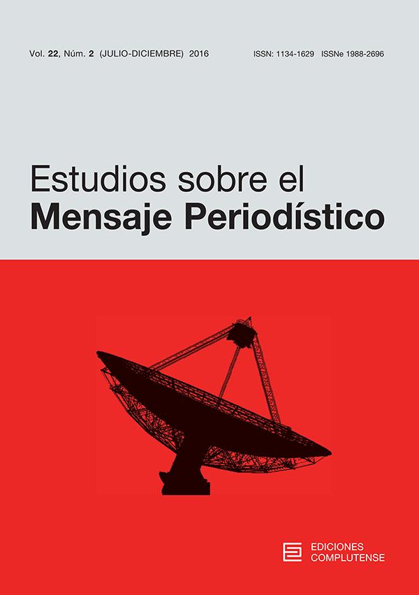 Cubierta Estudios sobre el Mensaje Periodístico vol 22, nº2 (2016)