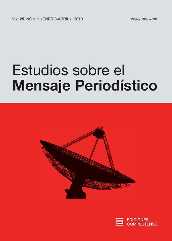 Cubierta Estudios sobre el Mensaje Periodístico vol 25-1 (2019)