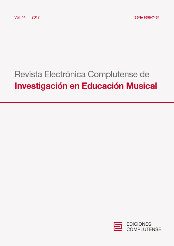 Cubierta de Revista Electrónica Complutense de Investigación en Educación Musical Vol. 14 (2017)