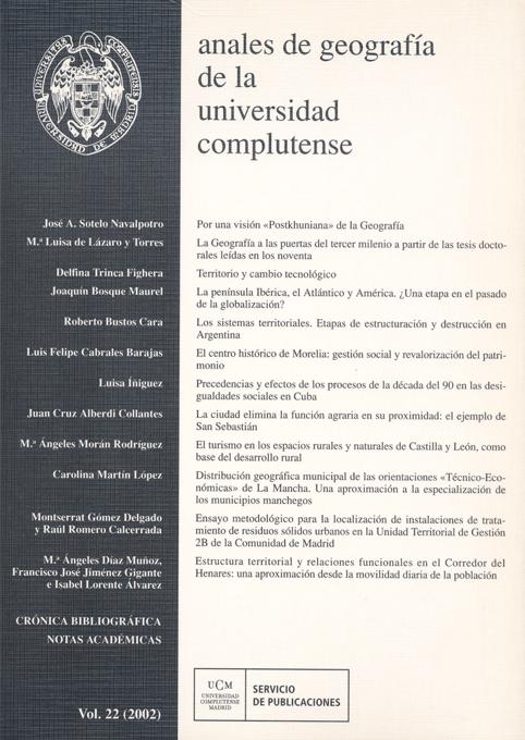 Anales de Geografía de la Universidad Complutense Vol. 22 (2002)