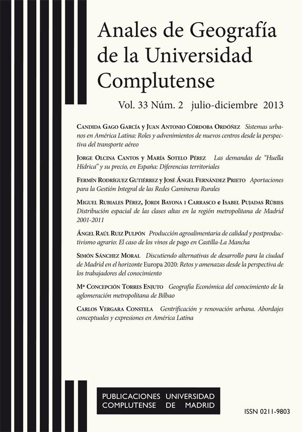 Cubierta de Anales de Geografía de la Universidad Complutense Vol. 33, Núm. 2