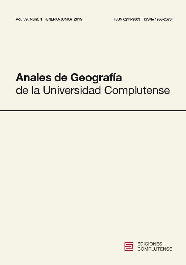 Cubierta de Anales de Geografía de la Universidad Complutense Vol. 39 Núm. 1 (2019)