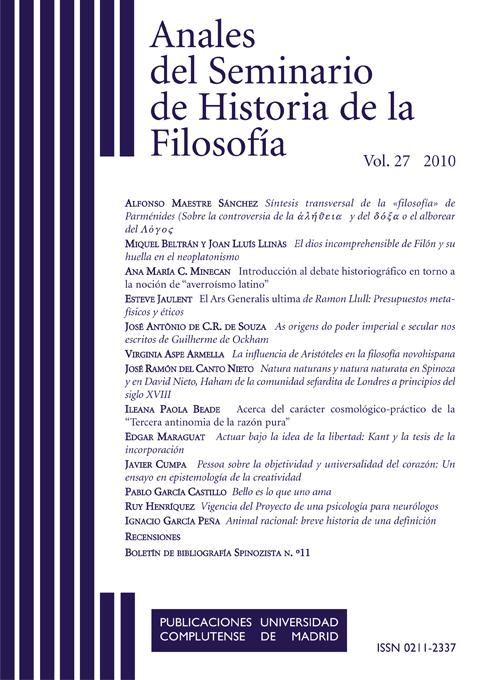 Anales del Seminario de Historia de la Filosofía Vol. 27 (2012)