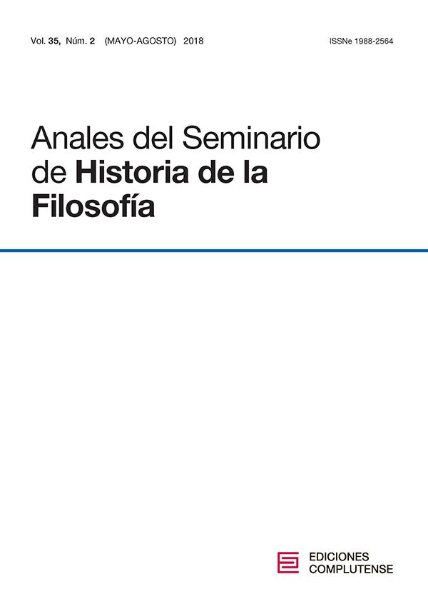 Cubierta Anales del Seminario de Historia de la Filosofía vol 35-2 (2018)