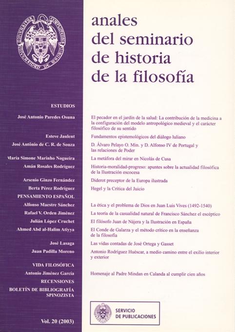 Anales del Seminario de Historia de la Filosofía Vol. 20 (2002)