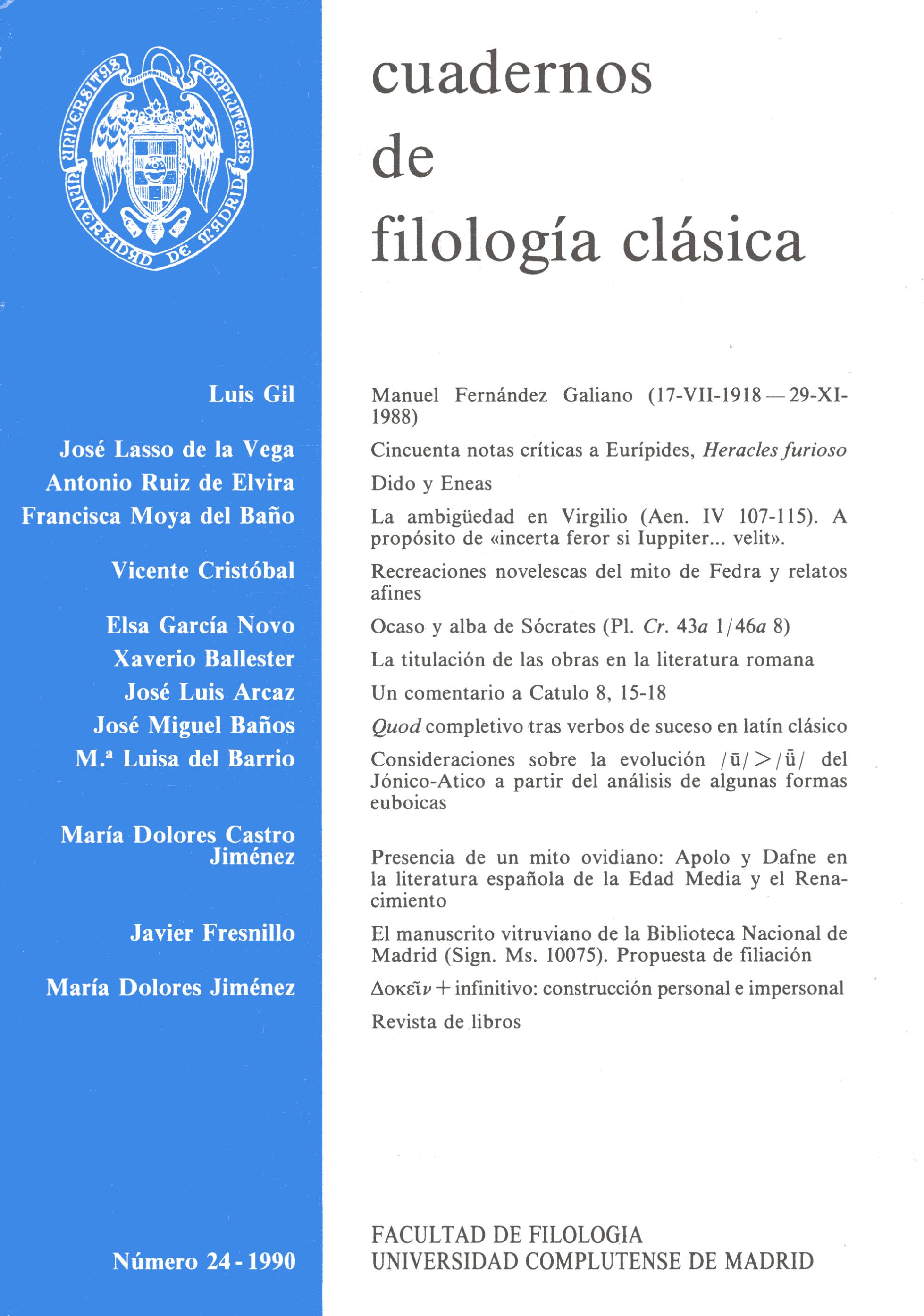 Portada de Cuadernos de Filología Clásica