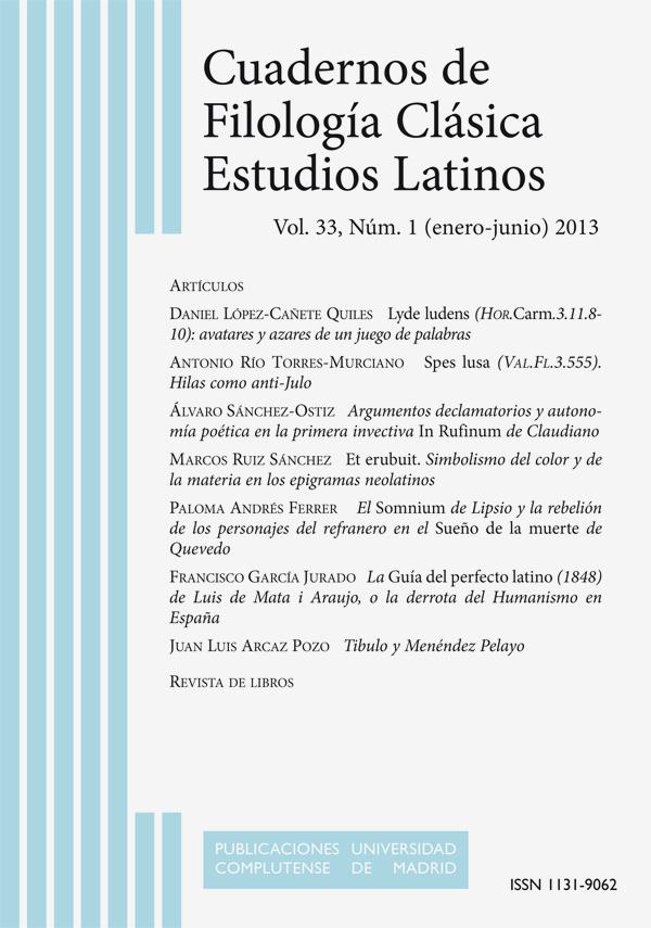 Cubierta de Cuadernos de Filología Clásica. Estudios Latinos Vol. 33, Núm. 1 (2013)