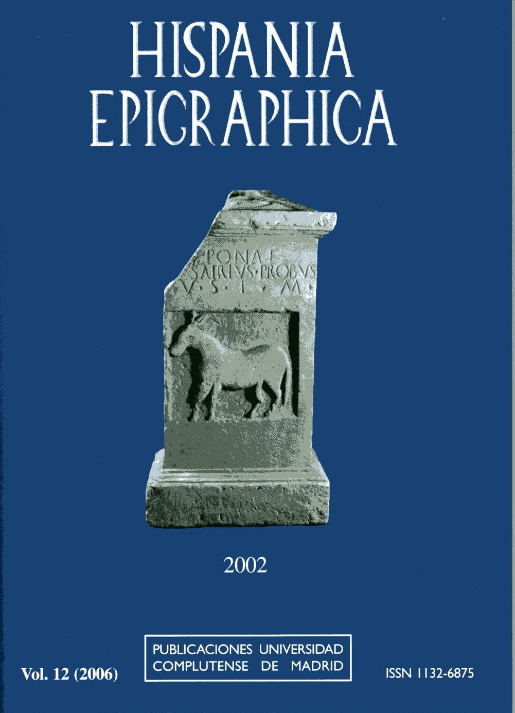 Cubierta Hispania Epigraphica vol 12