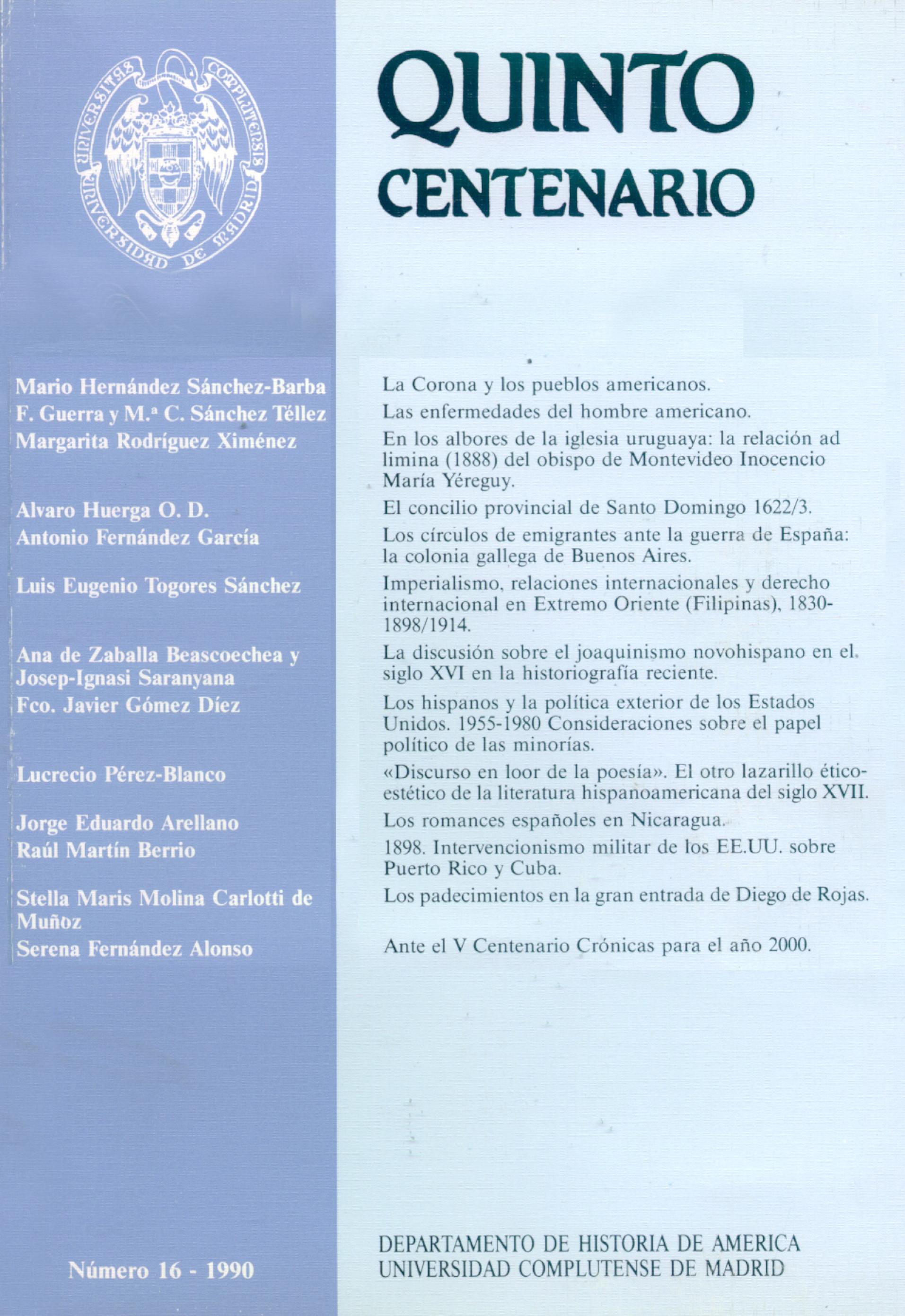 Portada de Quinto Centenario