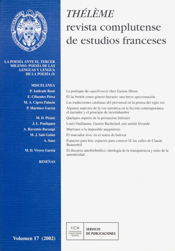 Thélème. Revista Complutense de Estudios Franceses Vol. 17 (2002)
