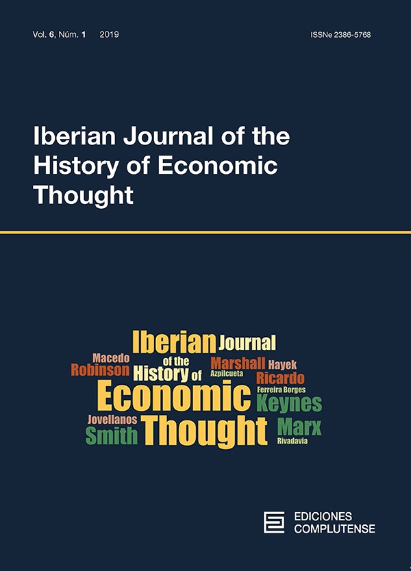 Cubierta Iberian Journal of the History of Economic Thought vol 6-1 (2019)